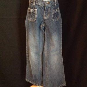 Girls Gymboree Denim Jeans Pants Bows EUC 6